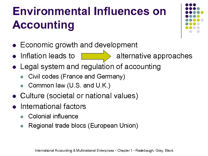 Environmental Influences on Accounting l l l Economic growth and development Inflation leads to