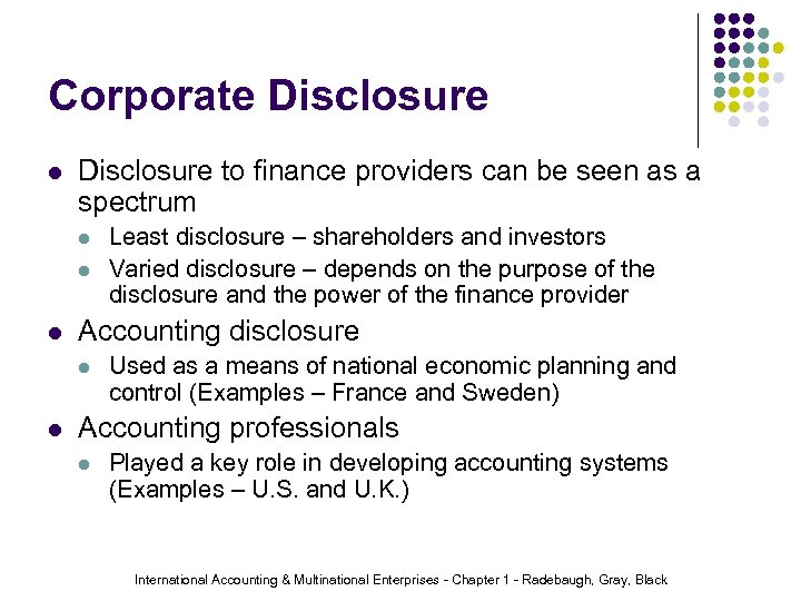 Corporate Disclosure l Disclosure to finance providers can be seen as a spectrum l