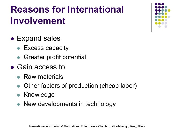 Reasons for International Involvement l Expand sales l l l Excess capacity Greater profit