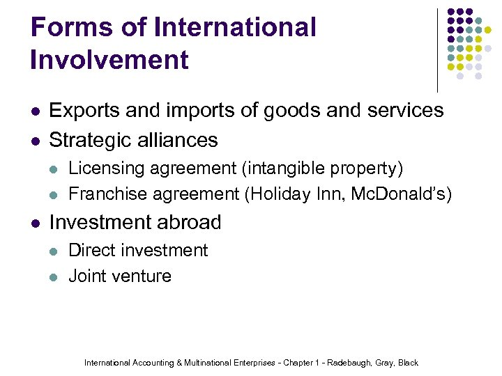 Forms of International Involvement l l Exports and imports of goods and services Strategic