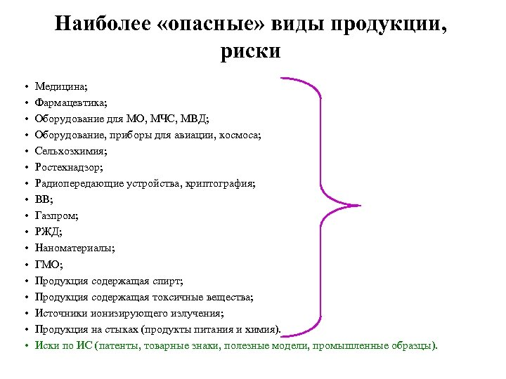 Наиболее «опасные» виды продукции, риски • • • • • Медицина; Фармацевтика; Оборудование для