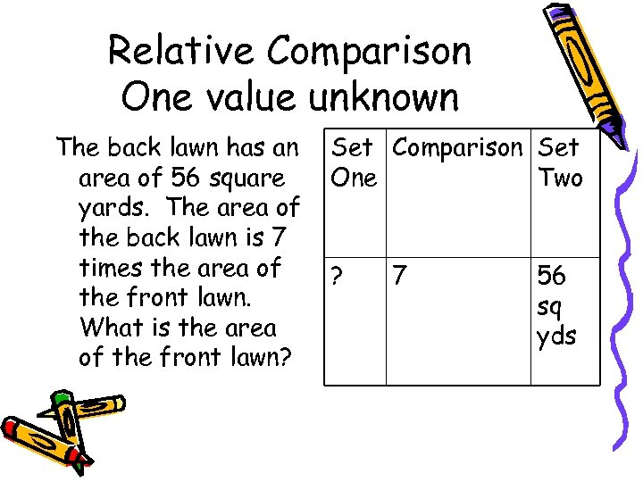 Relative Comparison One value unknown The back lawn has an area of 56 square