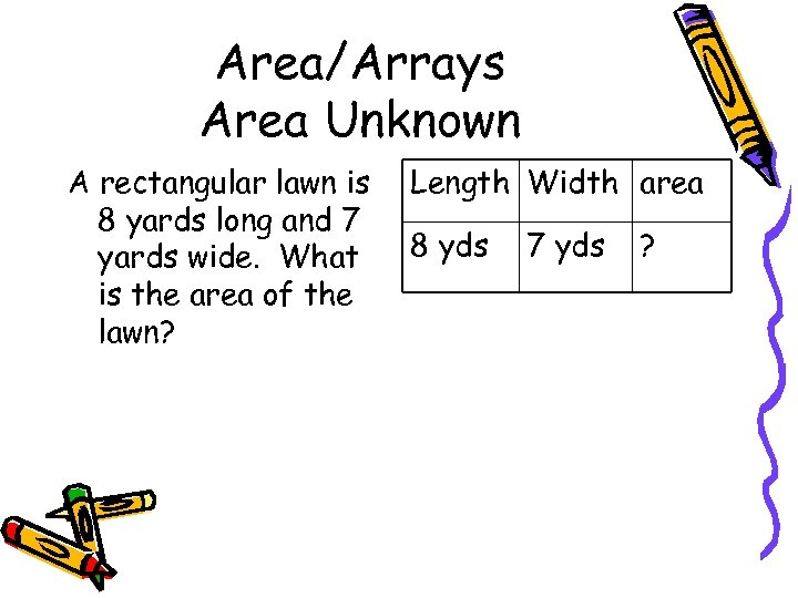 Area/Arrays Area Unknown A rectangular lawn is 8 yards long and 7 yards wide.