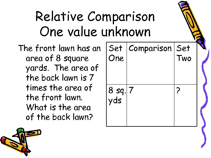 Relative Comparison One value unknown The front lawn has an area of 8 square
