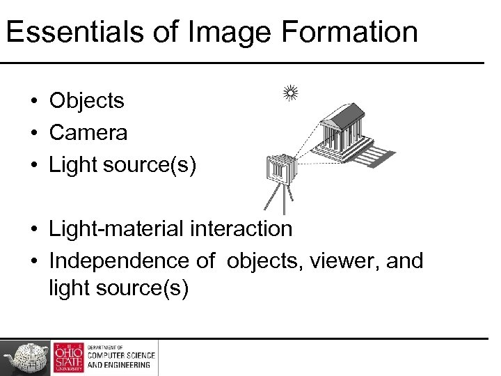 Essentials of Image Formation • Objects • Camera • Light source(s) • Light-material interaction