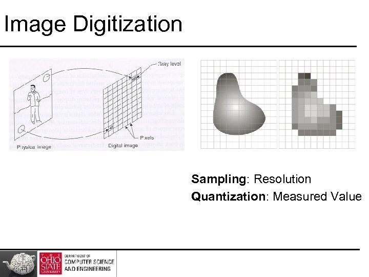 Image Digitization Sampling: Resolution Quantization: Measured Value