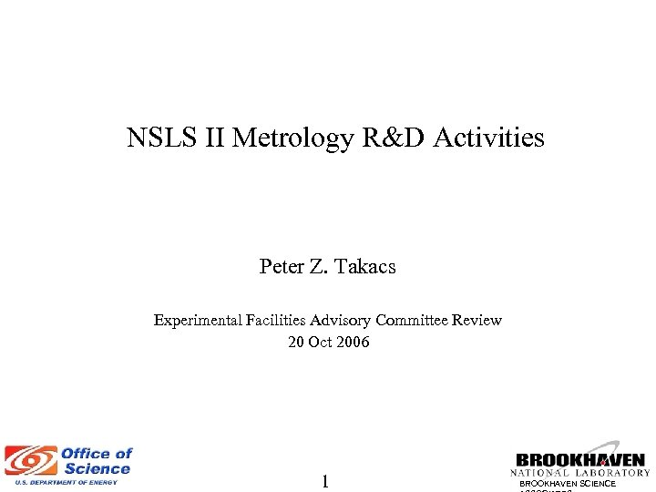 NSLS II Metrology R&D Activities Peter Z. Takacs Experimental Facilities Advisory Committee Review 20
