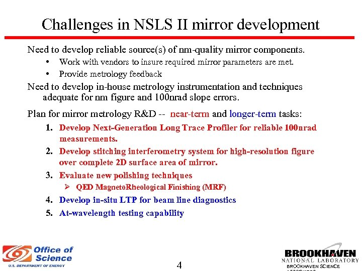 Challenges in NSLS II mirror development Need to develop reliable source(s) of nm-quality mirror
