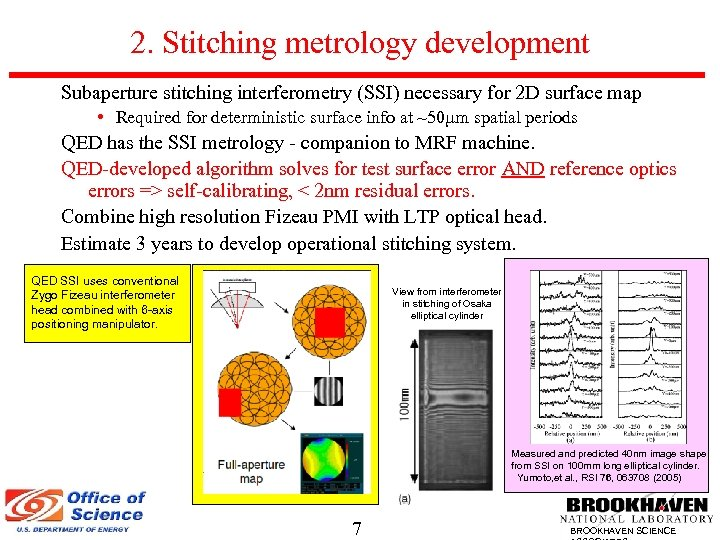 2. Stitching metrology development Subaperture stitching interferometry (SSI) necessary for 2 D surface map