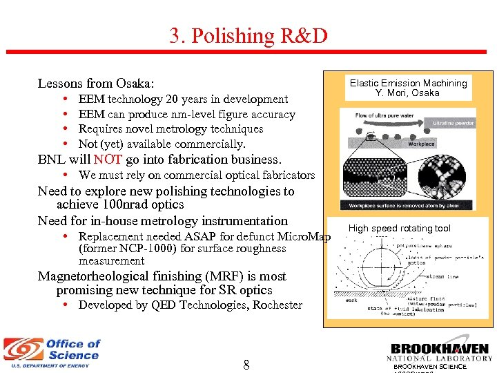 3. Polishing R&D Lessons from Osaka: • • EEM technology 20 years in development