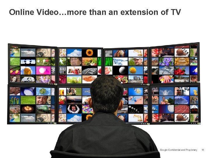 Online Video…more than an extension of TV Google Confidential and Proprietary 16