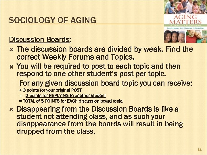 SOCIOLOGY OF AGING Discussion Boards: The discussion boards are divided by week. Find the