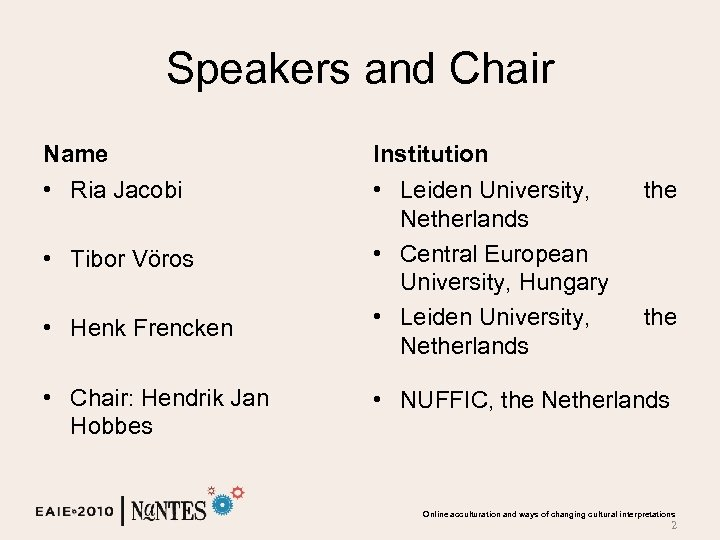 Speakers and Chair Name Institution • Ria Jacobi • Leiden University, Netherlands • Central
