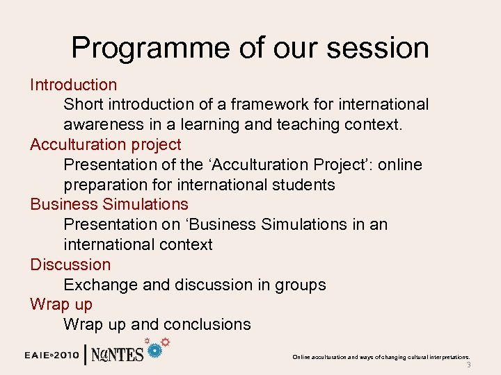 Programme of our session Introduction Short introduction of a framework for international awareness in