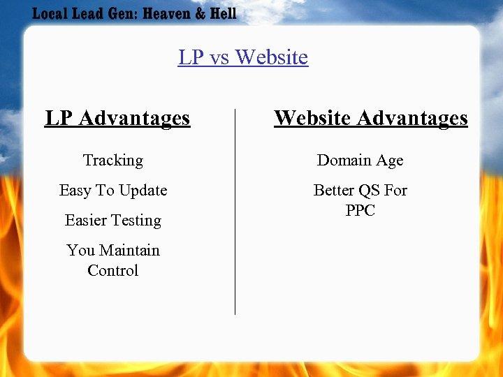 LP vs Website LP Advantages Website Advantages Tracking Domain Age Easy To Update Better