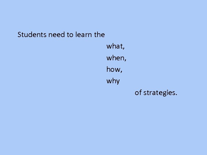 Students need to learn the what, when, how, why of strategies.