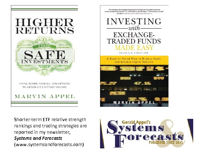 Shorter-term ETF relative strength rankings and trading strategies are reported in my newsletter, Systems