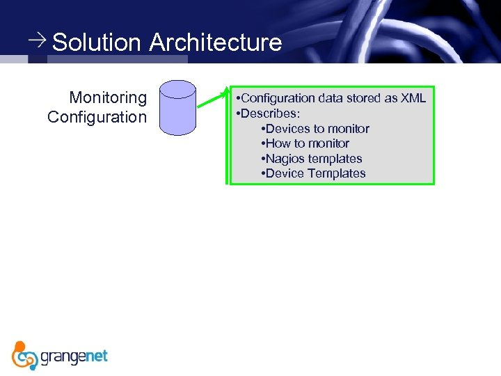 Solution Architecture Monitoring Configuration • Configuration data stored as XML • Describes: • Devices