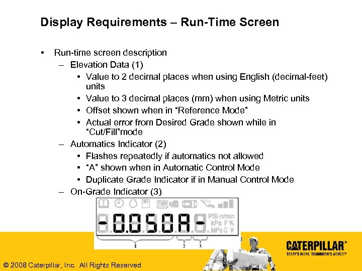 Display Requirements – Run-Time Screen • Run-time screen description – Elevation Data (1) •
