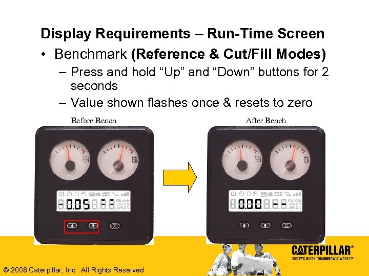 Display Requirements – Run-Time Screen • Benchmark (Reference & Cut/Fill Modes) – Press and