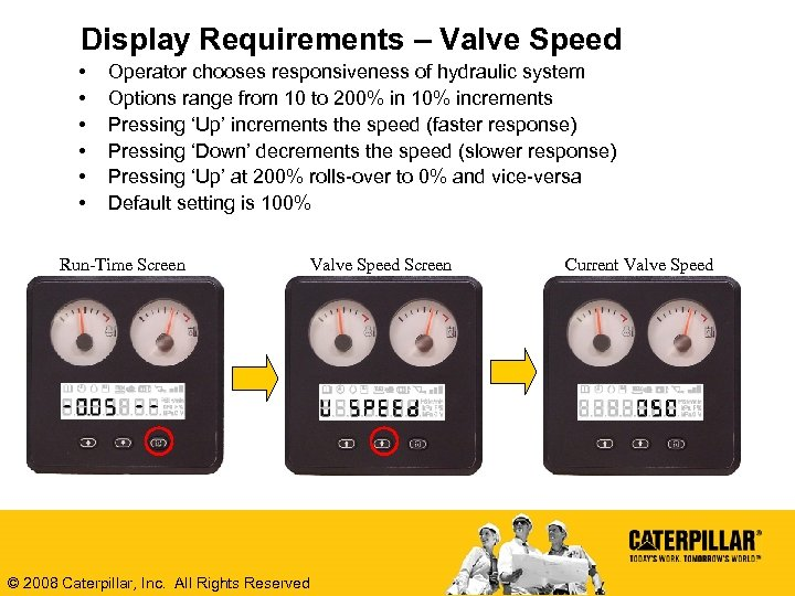 Display Requirements – Valve Speed • • • Operator chooses responsiveness of hydraulic system