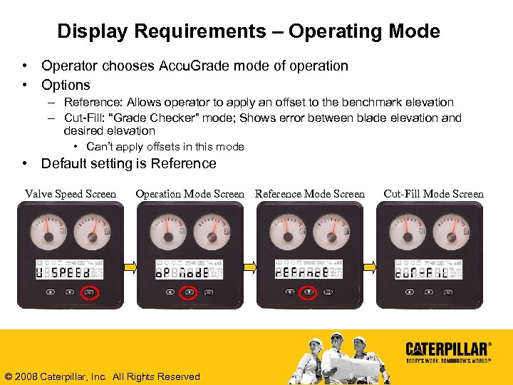 Display Requirements – Operating Mode • Operator chooses Accu. Grade mode of operation •