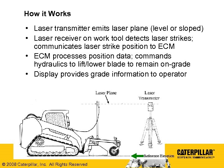 How it Works • Laser transmitter emits laser plane (level or sloped) • Laser
