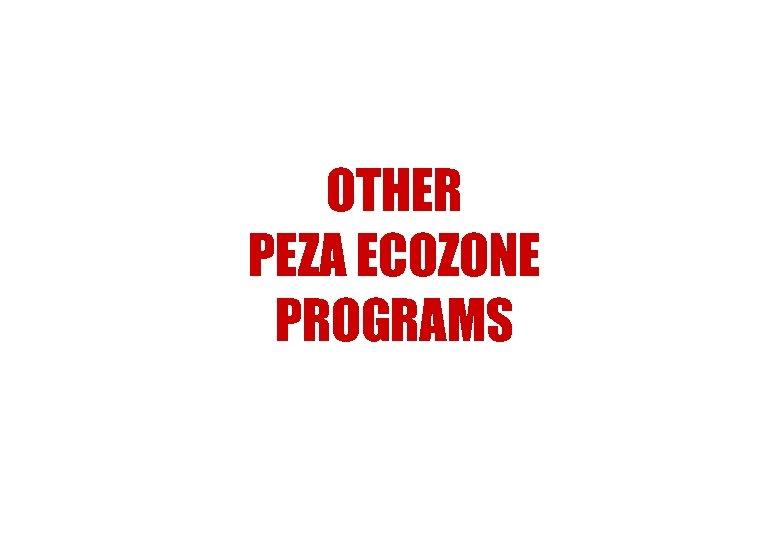 OTHER PEZA ECOZONE PROGRAMS