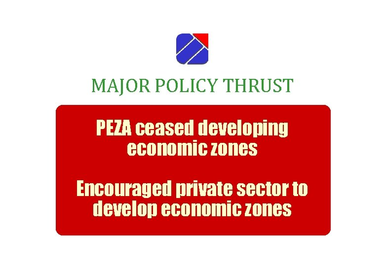 MAJOR POLICY THRUST PEZA ceased developing economic zones Encouraged private sector to develop economic