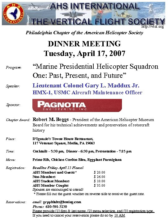 http: //vtol. org Philadelphia Chapter of the American Helicopter Society DINNER MEETING Tuesday, April