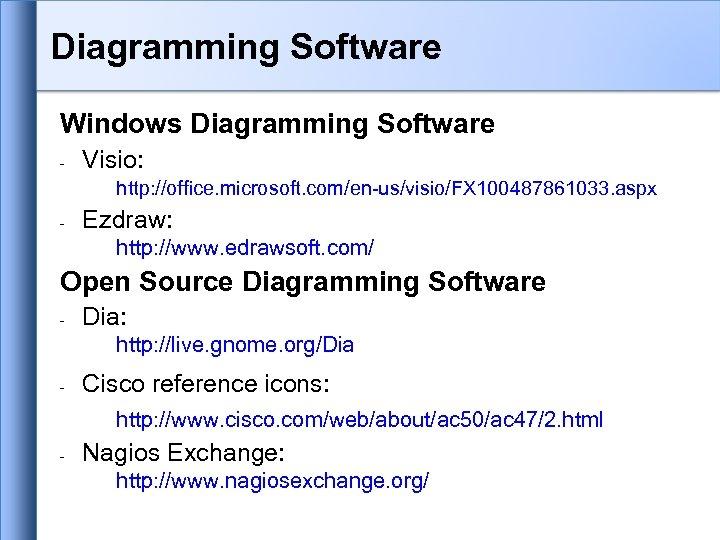 Diagramming Software Windows Diagramming Software - Visio: http: //office. microsoft. com/en-us/visio/FX 100487861033. aspx -