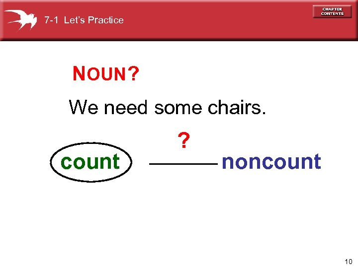 7 -1 Let's Practice NOUN ? We need some chairs. count ? noncount 10