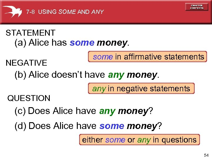 7 -8 USING SOME AND ANY STATEMENT (a) Alice has some money. NEGATIVE some