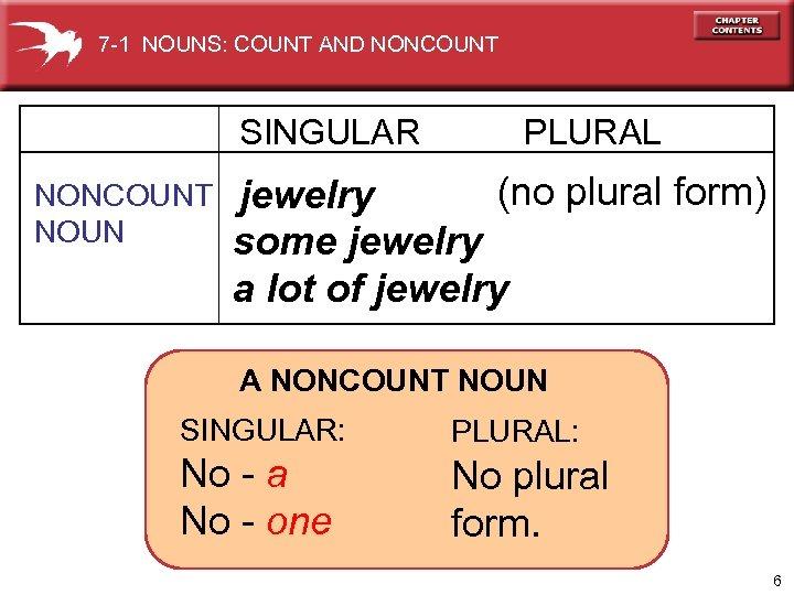 7 -1 NOUNS: COUNT AND NONCOUNT SINGULAR NONCOUNT NOUN PLURAL (no plural form) jewelry