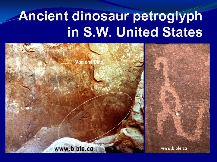 Ancient dinosaur petroglyph in S. W. United States