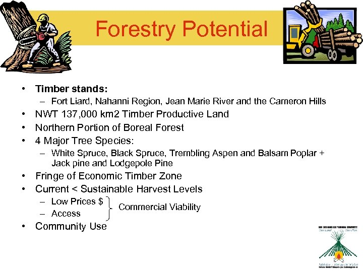 Forestry Potential • Timber stands: – Fort Liard, Nahanni Region, Jean Marie River and