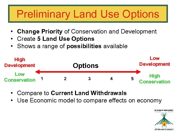 Preliminary Land Use Options • Change Priority of Conservation and Development • Create 5