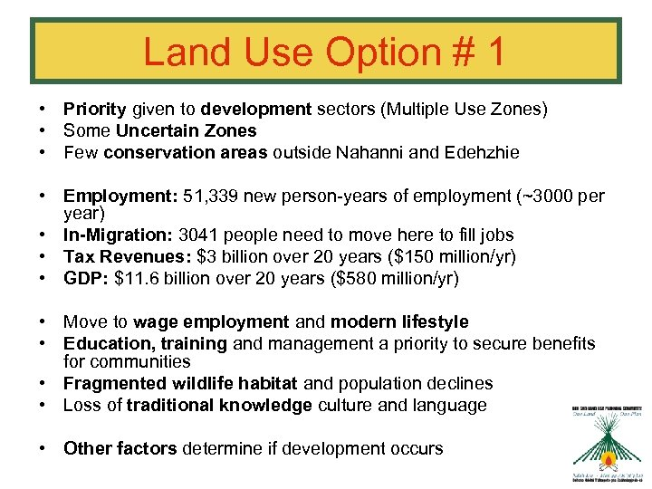 Land Use Option # 1 • Priority given to development sectors (Multiple Use Zones)