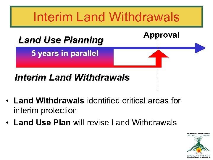 Interim Land Withdrawals Land Use Planning Approval 5 years in parallel Interim Land Withdrawals