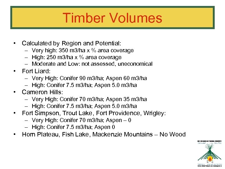 Timber Volumes • Calculated by Region and Potential: – Very high: 350 m 3/ha