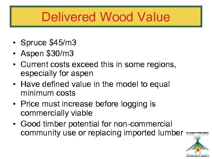 Delivered Wood Value • Spruce $45/m 3 • Aspen $30/m 3 • Current costs