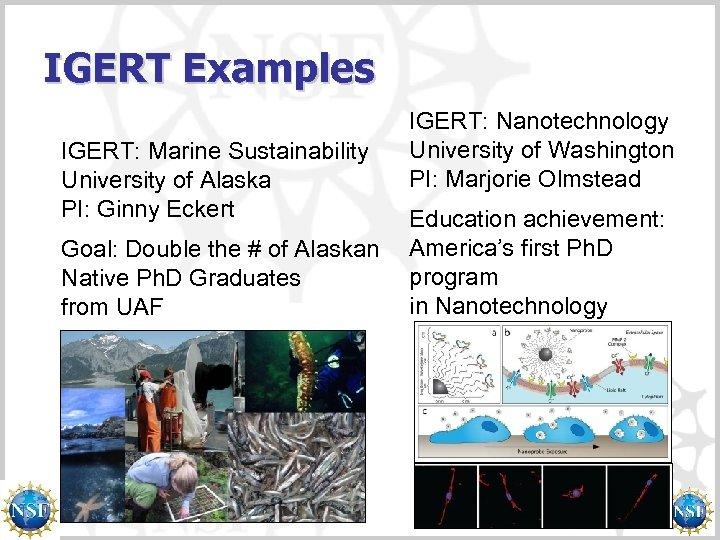IGERT Examples IGERT: Marine Sustainability University of Alaska PI: Ginny Eckert Goal: Double the