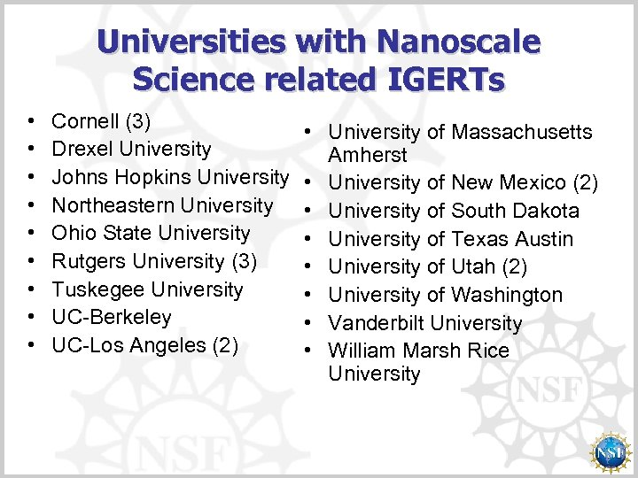 Universities with Nanoscale Science related IGERTs • • • Cornell (3) Drexel University Johns