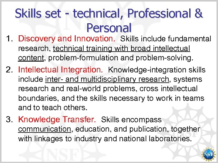 Skills set - technical, Professional & Personal 1. Discovery and Innovation. Skills include fundamental