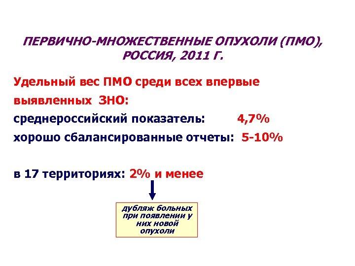 ПЕРВИЧНО-МНОЖЕСТВЕННЫЕ ОПУХОЛИ (ПМО), РОССИЯ, 2011 Г. Удельный вес ПМО среди всех впервые выявленных ЗНО: