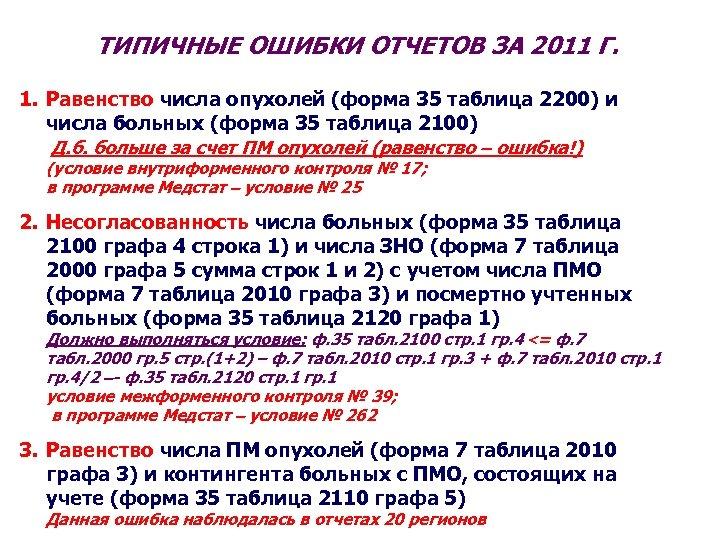 ТИПИЧНЫЕ ОШИБКИ ОТЧЕТОВ ЗА 2011 Г. 1. Равенство числа опухолей (форма 35 таблица 2200)