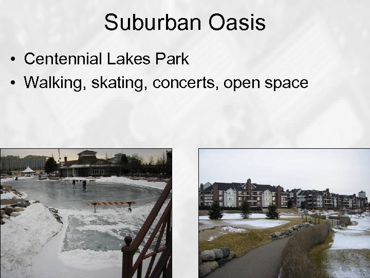 Suburban Oasis • Centennial Lakes Park • Walking, skating, concerts, open space