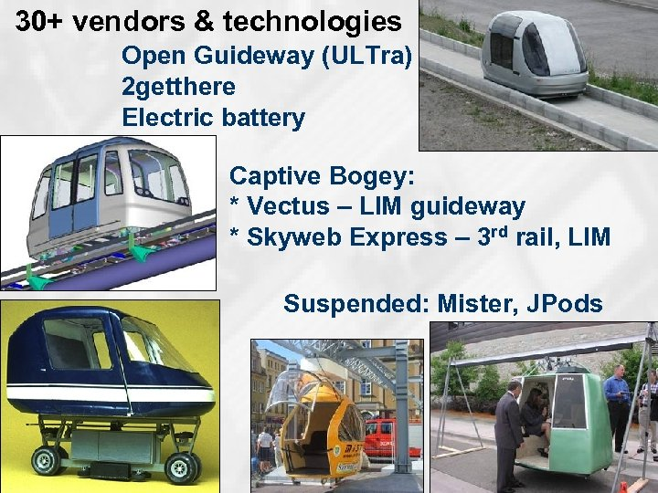 30+ vendors & technologies Open Guideway (ULTra) 2 getthere Electric battery Captive Bogey: *