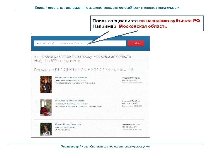 Единый реестр, как инструмент повышения конкурентоспособности агентства недвижимости Поиск специалиста по названию субъекта РФ