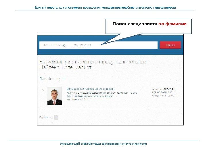 Единый реестр, как инструмент повышения конкурентоспособности агентства недвижимости Поиск специалиста по фамилии Управляющий совет